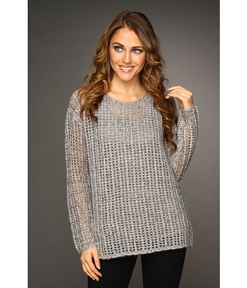 Bluze DKNY - L/S Boat Neck Openstitch Pullover - Heather Silver Grey