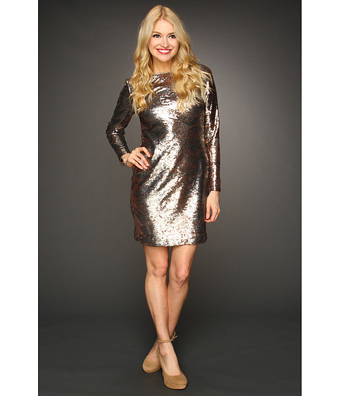 Rochii Jessica Simpson - Long Sleeve Sequin V-Back Dress - Grey
