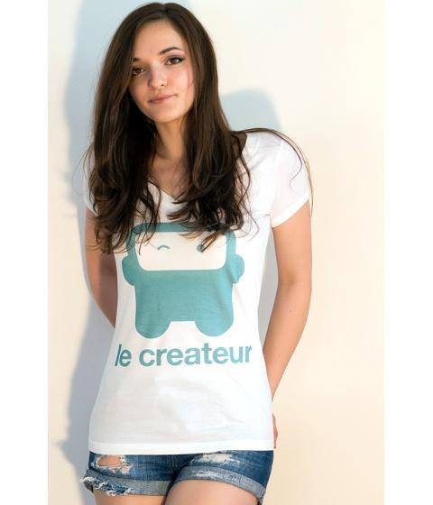 Tricouri LeCreateur - Tricou femei Flirty Robot UG/W - Alb