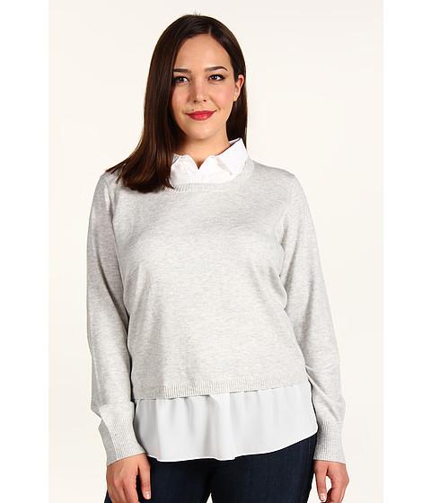 Bluze DKNY - Plus Size L/S Pullover Sweater w/ Faux Blouse - Heather Cloud