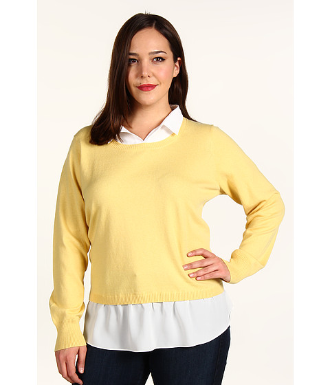 Bluze DKNY - Plus Size L/S Pullover Sweater w/ Faux Blouse - Sunlight