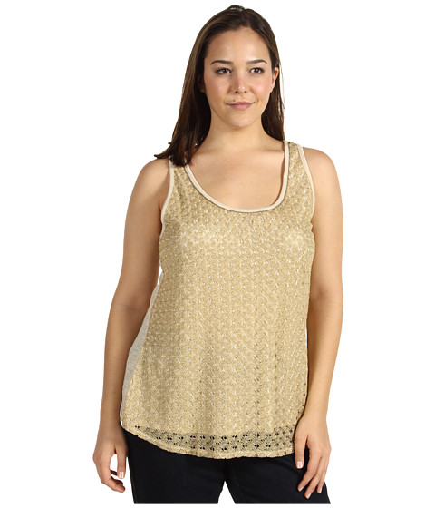 Bluze Lucky Brand - Plus Size Gilded Lace Tank Top - Creme Brulee