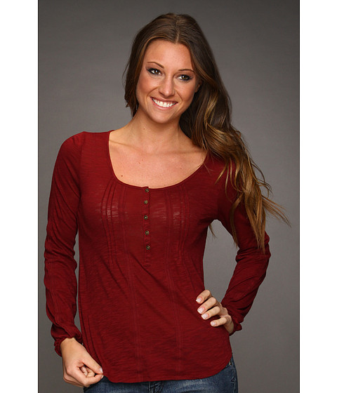 Bluze Lucky Brand - Pleated Top - Eastern Red