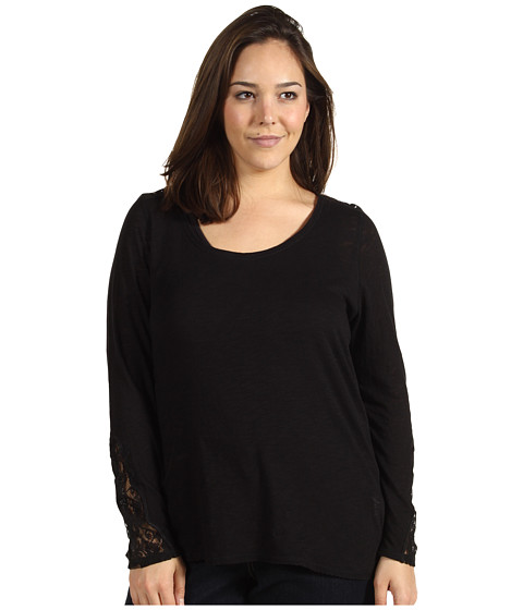 Bluze Lucky Brand - Plus Size Indian Lace Thermal - Black