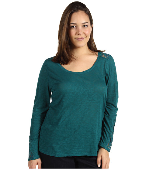 Bluze Lucky Brand - Plus Size Indian Lace Thermal - Satin Peacock