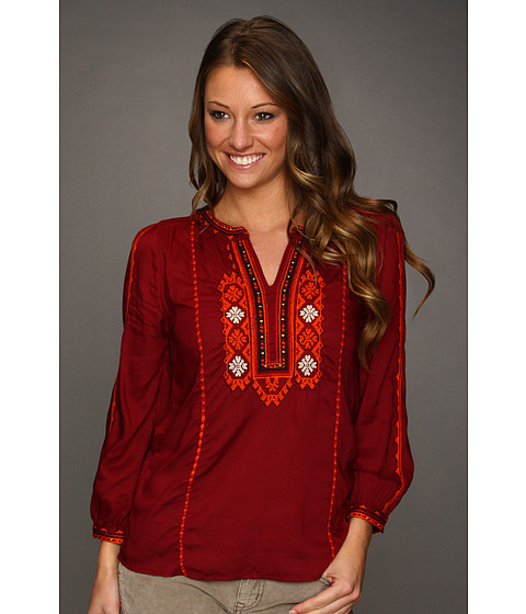 Bluze Lucky Brand - Eastern Dream Embroidered Top - Eastern Red Multi