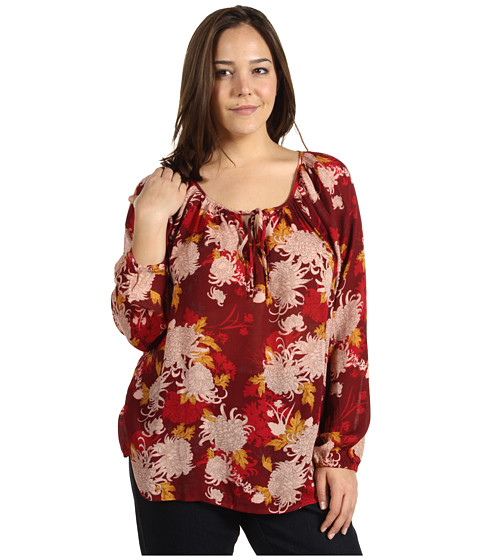 Bluze Lucky Brand - Plus Size Rhiannon Printed Peasant Blouse - Red Multi