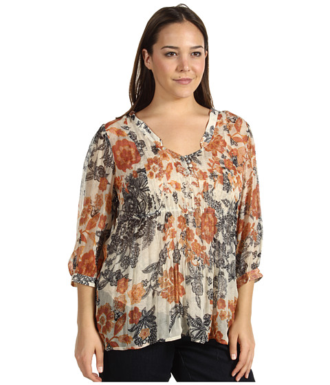 Bluze Lucky Brand - Plus Size Talitha Floral Blouse - Natural Multi