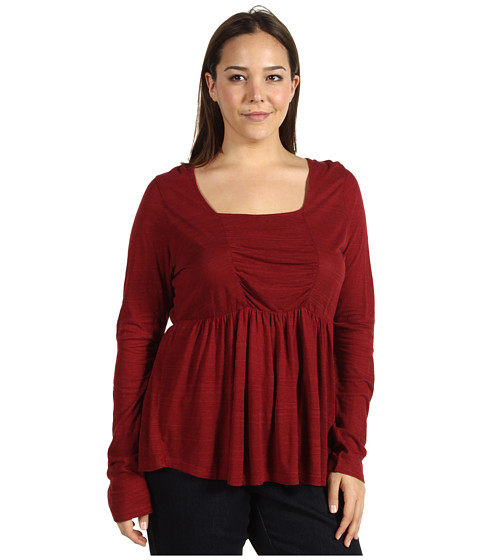 Bluze Lucky Brand - Plus Size Tribal Patched Rouched Top - Luxe Red
