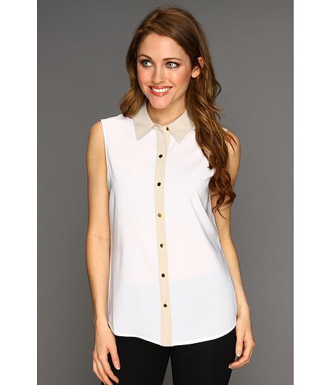 Tricouri Calvin Klein - Sleeveless Colorblock Button Down - White/Khaki