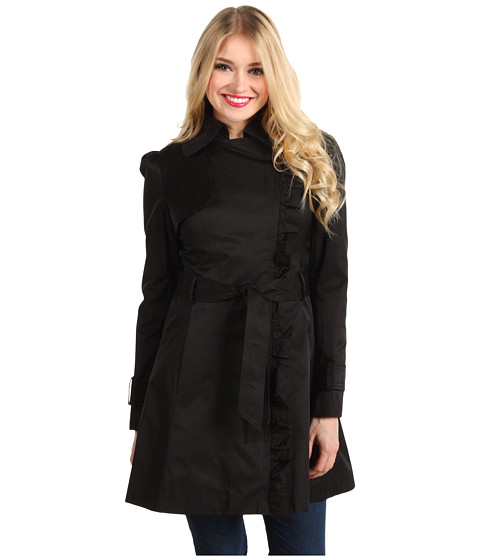 Jachete Jessica Simpson - Asymmetrical Zip Trench Coat w/Ruffle - Black