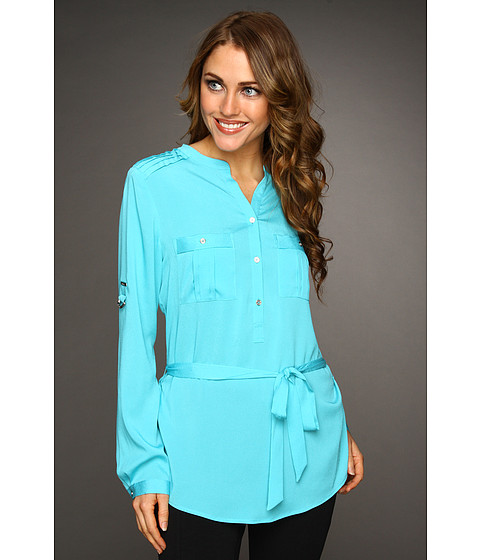 Tricouri Calvin Klein - Henley Tunic w/ Self Belt - Impulse Blue