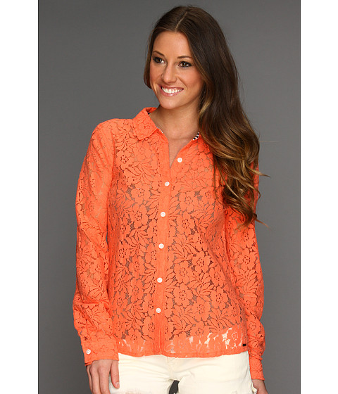 Camasi Volcom - Not So Classic L/S Button Up Top - Neon Orange