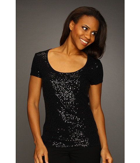 Bluze Kenneth Cole - Sequin T-Shirt - Black