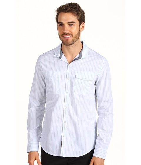 Tricouri Calvin Klein - L/S Woven Sky Glaze Stripe Shirt - Egyptian Glaze Blue