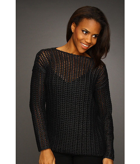 Bluze Kenneth Cole - Coated Open Stitch Sweater - Black/Black