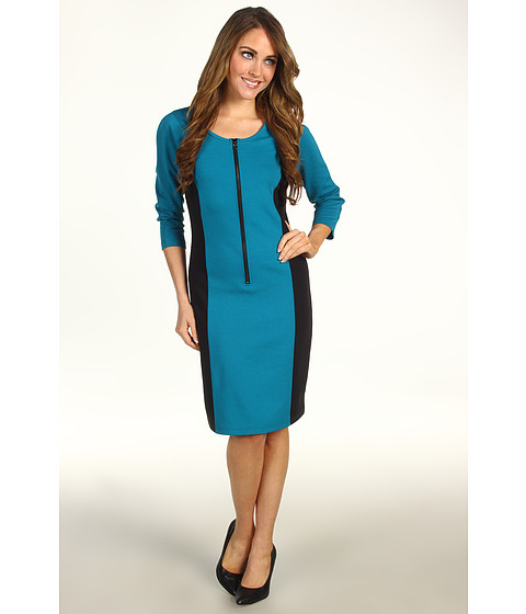 Rochii Kenneth Cole - 3/4 Sleeve Ponte Dress - Turquoise/Black