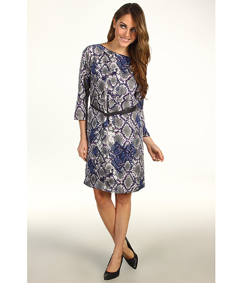 Rochii Kenneth Cole - Pixelated Python Printed 3/4 Dress - Ash Grey Combo