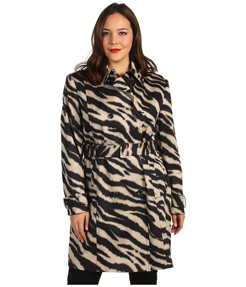 Jachete Anne Klein - Plus Size Zebra Print Trench Coat - Champagne Multi