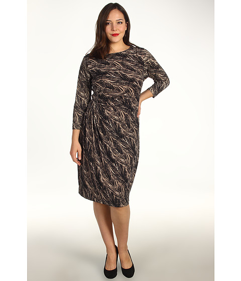 Rochii Anne Klein - Plus Size Feather Print 3/4 Sleeve Dress - Champagne