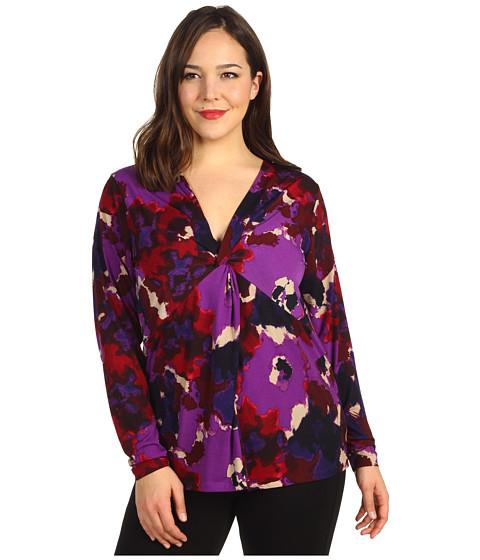 Bluze Anne Klein - Plus Size Floral Print V-Neck Top - Purple Multi