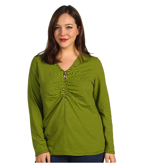 Bluze Michael Kors - Bungalow V-Neck Zip-Front Top - Fresh Lime