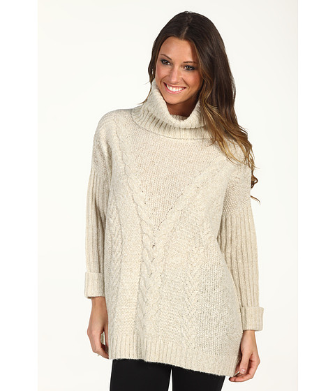 Bluze DKNY - 3/4 Sleeve Drama Cable Funnel Neck Sweater - Heather Ivory