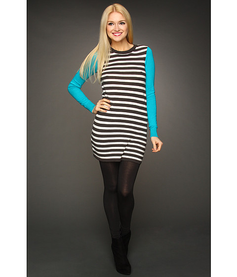 Rochii BCBGeneration - Striped Contrast Sleeve Sweaterdress - Teal Combo
