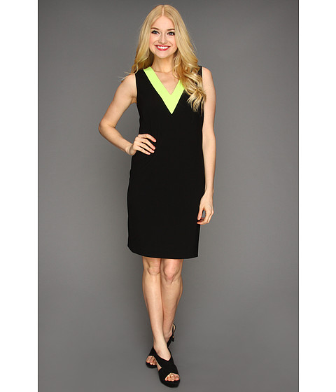 Rochii Calvin Klein - V-Neck Color Block Dress - Black/Neon Green