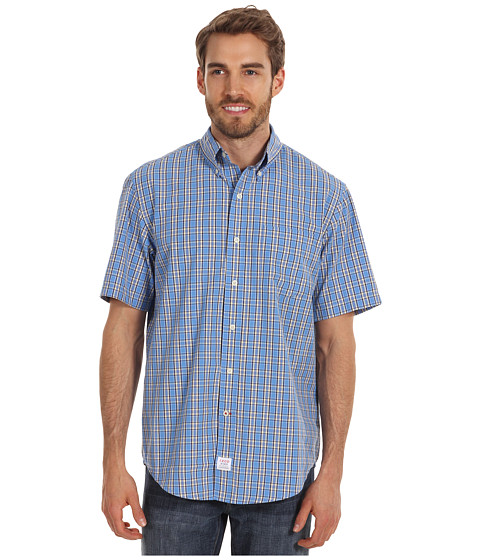 Tricouri IZOD - Short Sleeve Saltwater Poplin Medium Plaid - Blue Revival