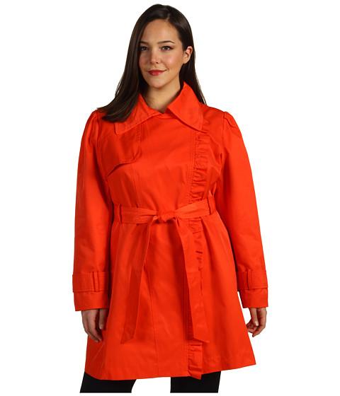Jachete Jessica Simpson - Plus Size Asymmetrical Zip Trench w/ Ruffle - Tangerine