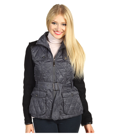 Jachete Vince Camuto - Mixed Media Quilted Jacket - Smoke/Black