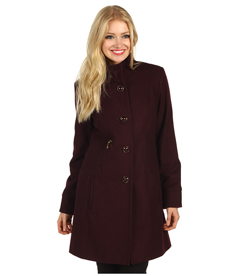Jachete Vince Camuto - Single Breasted High Collar Coat - Wine