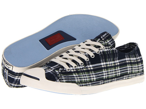 Adidasi Converse - Jack Purcellî Low Profile Slip-On - Navy Seersucker Plaid