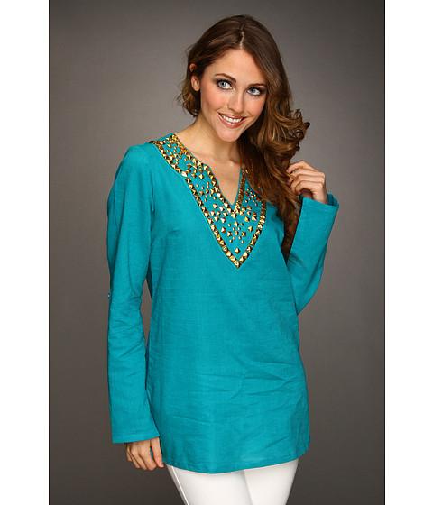 Bluze MICHAEL Michael Kors - Linen Embellished Tunic - Tile Blue