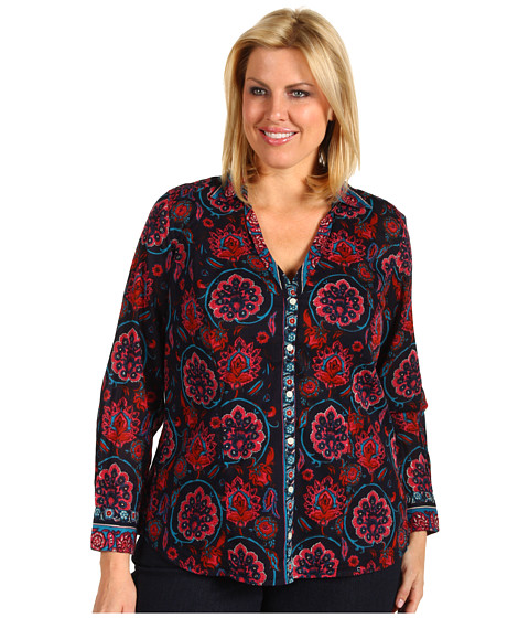Bluze Lucky Brand - Plus Size Joan Scarf Blouse - Navy Multi