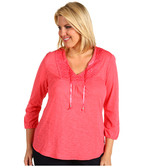 Bluze Lucky Brand - Plus Size Camille Top - Calypso Coral