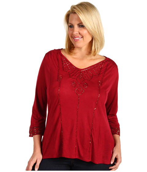 Bluze Lucky Brand - Plus Size Flowy Beaded Top - Luxe Red