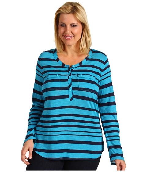 Bluze Lucky Brand - Plus Size Stripe Gayle Henley - Caneel Bay