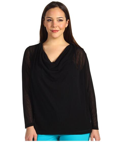 Bluze Karen Kane - Plus Size Drape Front Long Sleeve - Black