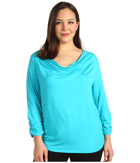 Bluze Karen Kane - Plus Size Twist Top W/Shirred Sleeve - Azure