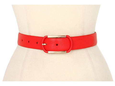 "Curele Calvin Klein - 1 1/4"" Lizard Panel With Smooth Semi Wrap Logo Buckle - Red"