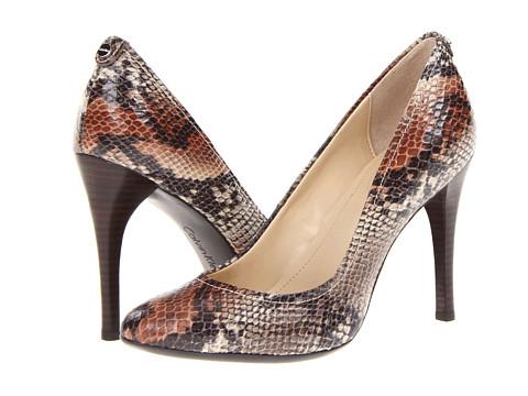 Pantofi Calvin Klein - Whinnie - Mink/Dark Brown Two Tone Snake