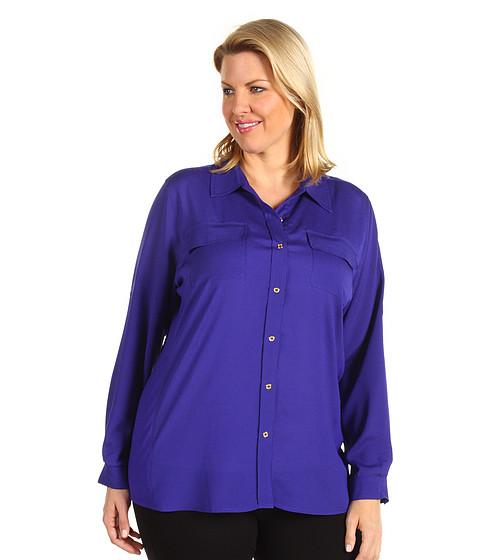 Tricouri Calvin Klein - Plus Size Rib Knit Blouse - Electric Purple