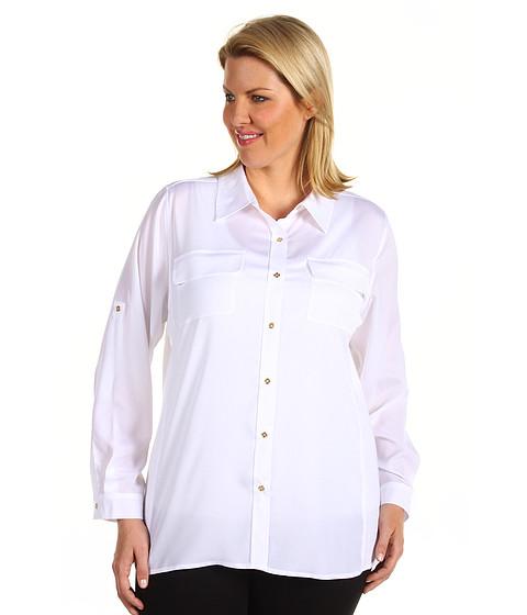 Tricouri Calvin Klein - Plus Size Rib Knit Blouse - Soft White