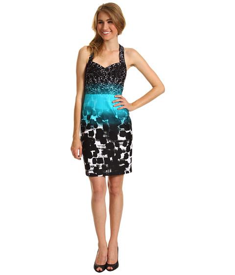 Rochii Calvin Klein - Cotton Printed Sheath Dress - Pool