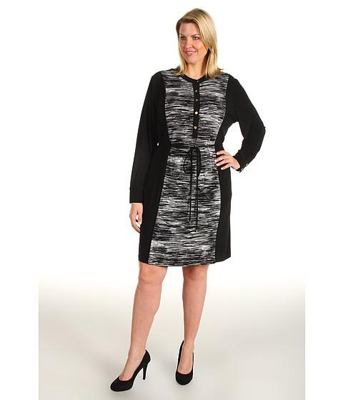 Rochii Calvin Klein - Plus Size Color Block Shirt Dress - Black Multi