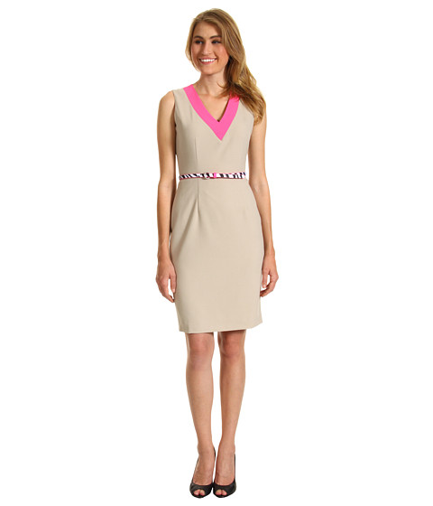 Rochii Calvin Klein - V-Neck Belted Career Dress - Khaki/Neon Pink