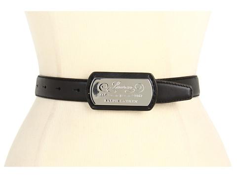 Curele LAUREN Ralph Lauren - Vachetta Belt w/ LRL Plaque - Black