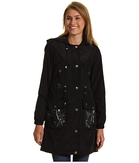 Jachete Betsey Johnson - 3/4 Length Raincoat w/ Plastic Trim - Black